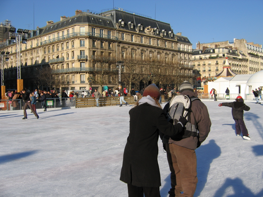 Ice skating on a temporary Paris ice rink