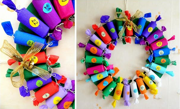 Toilet paper tube advent wreath via  Iva Alex
