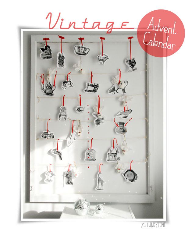 Free, printable vintage advent ornaments via  Funkytime