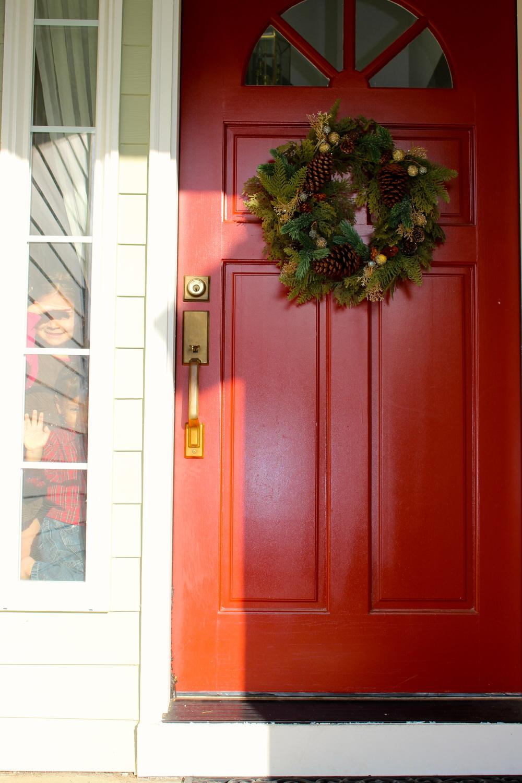 fireweed front door Christmas wreath intentional mama