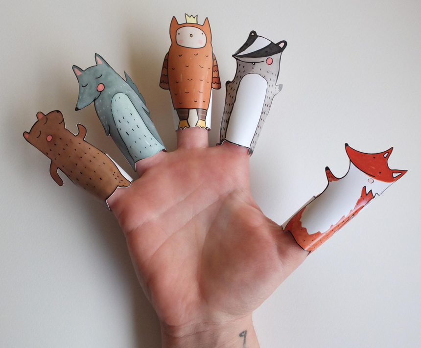 Hand drawn finger puppets by Curmilla via Etsy