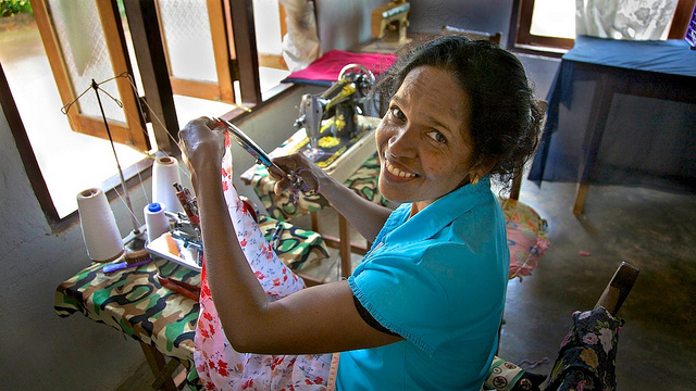 Village seamstress, Sri Lanka, by Michael Foley
