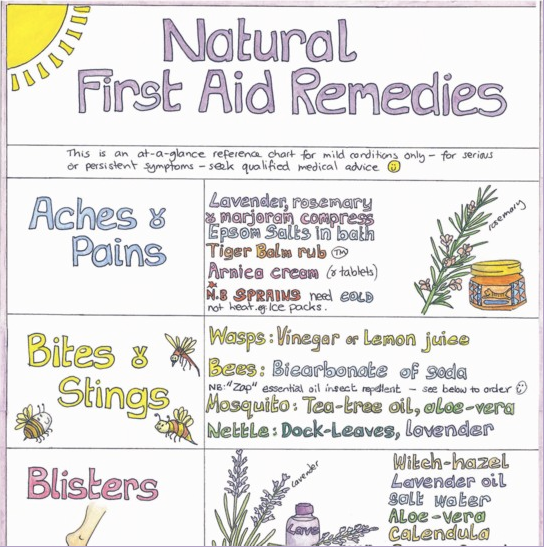 Excerpt from Liz Cook's Natural First Aid Remedies Chart
