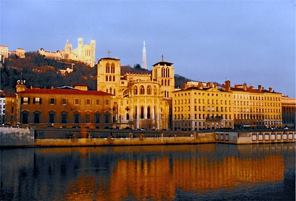 Lyon, France: I lived in the yellow building to the right of the cathedral
