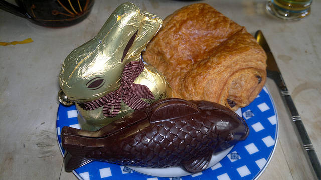 French chocolate Fish, Lindt bunny, and pain au chocolat by Hugovk