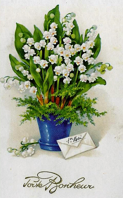 Vintage French postcard featuring Lily of the Valley for May 1st