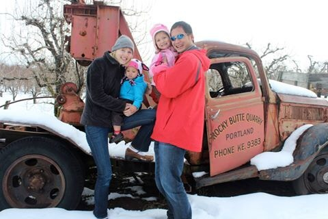 Our family in snowy Hood River, Oregon
