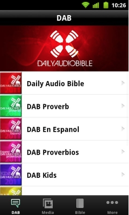 A screenshot of the DAB app