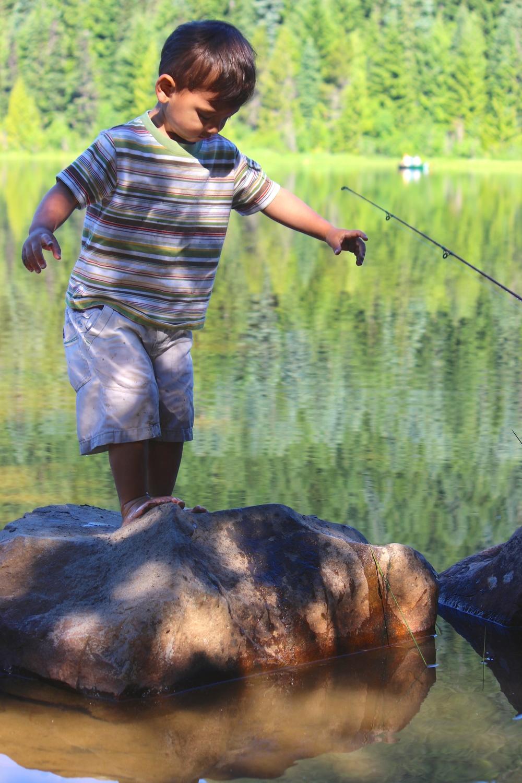 My son playing at Trillium Lake, Oregon, this past week