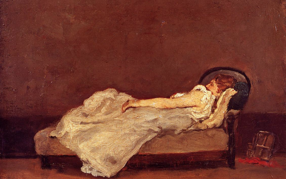 Mette asleep on a sofa  by Paul Gauguin, 1875