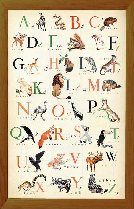 Vintage French animal alphabet poster via ChildsTouch on Etsy