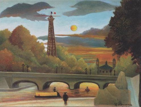 Seine et la Tour Eiffel au coucher du soleil by Henri Rousseau