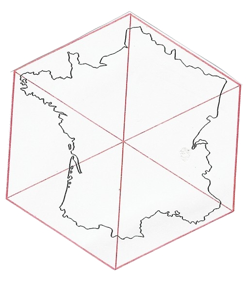 Hexagonal map of France via  AsapFrance.info