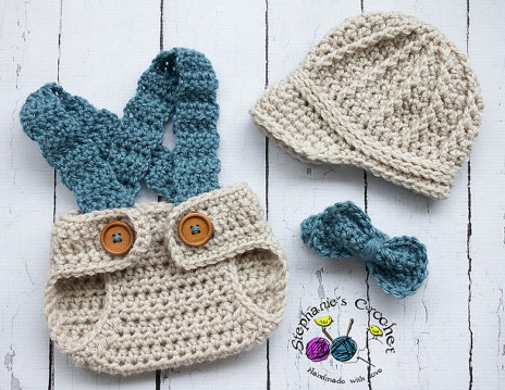 Newborn boy crochet items from Stephyscrochet via Etsy--cute items like this are hard to resist!