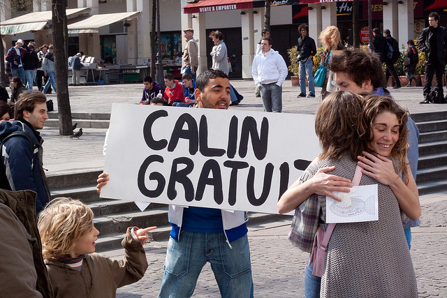 "A ""free hug"" prank in Paris (photo by  Thomas Hahusseau )"