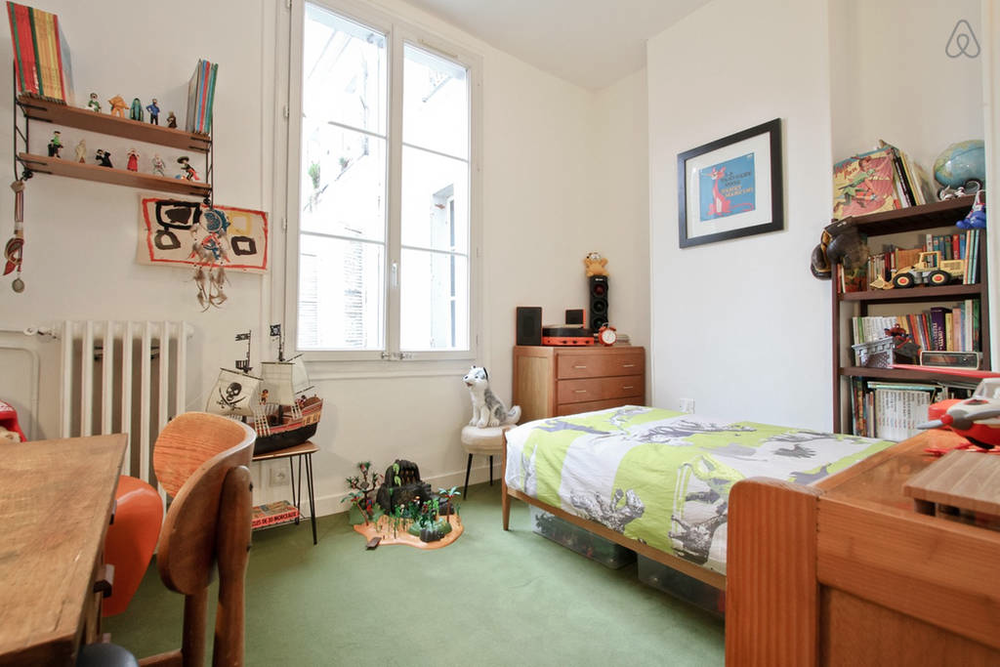 A boy's bedroom in a Paris listing via Airbnb