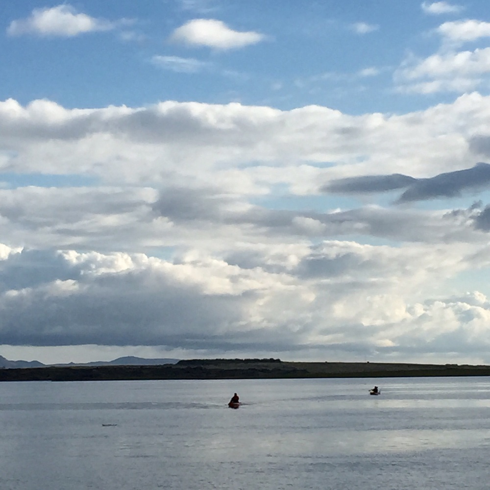 My husband and a friend kayaking around 8pm near Reykjavic