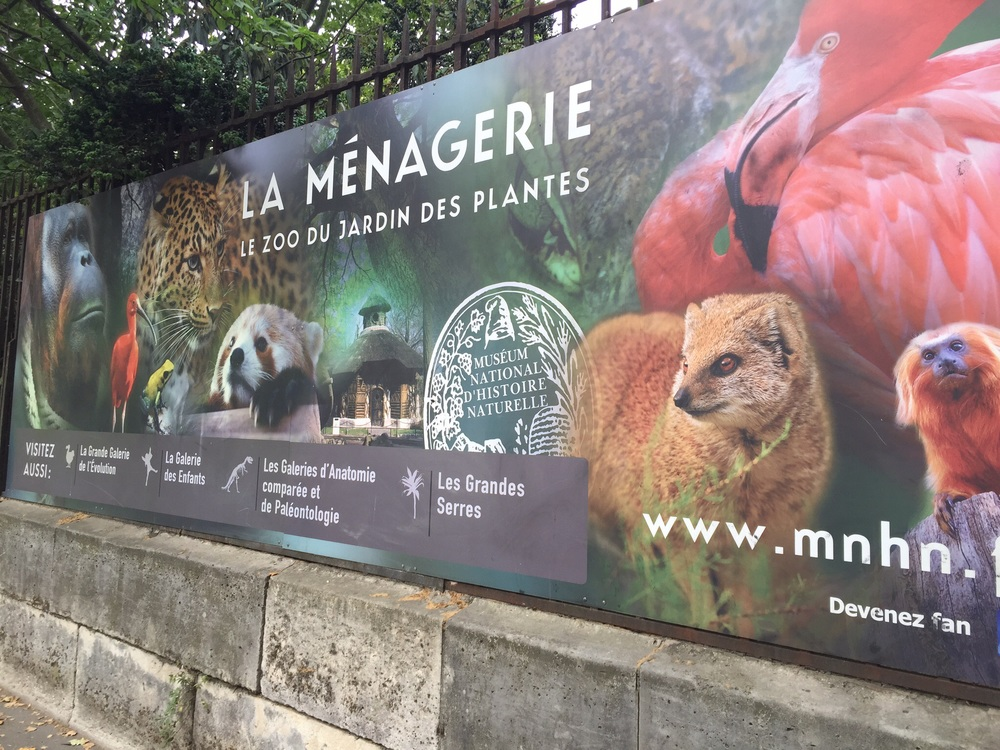 Advertising for the Ménagerie outside the Jardin des Plantes