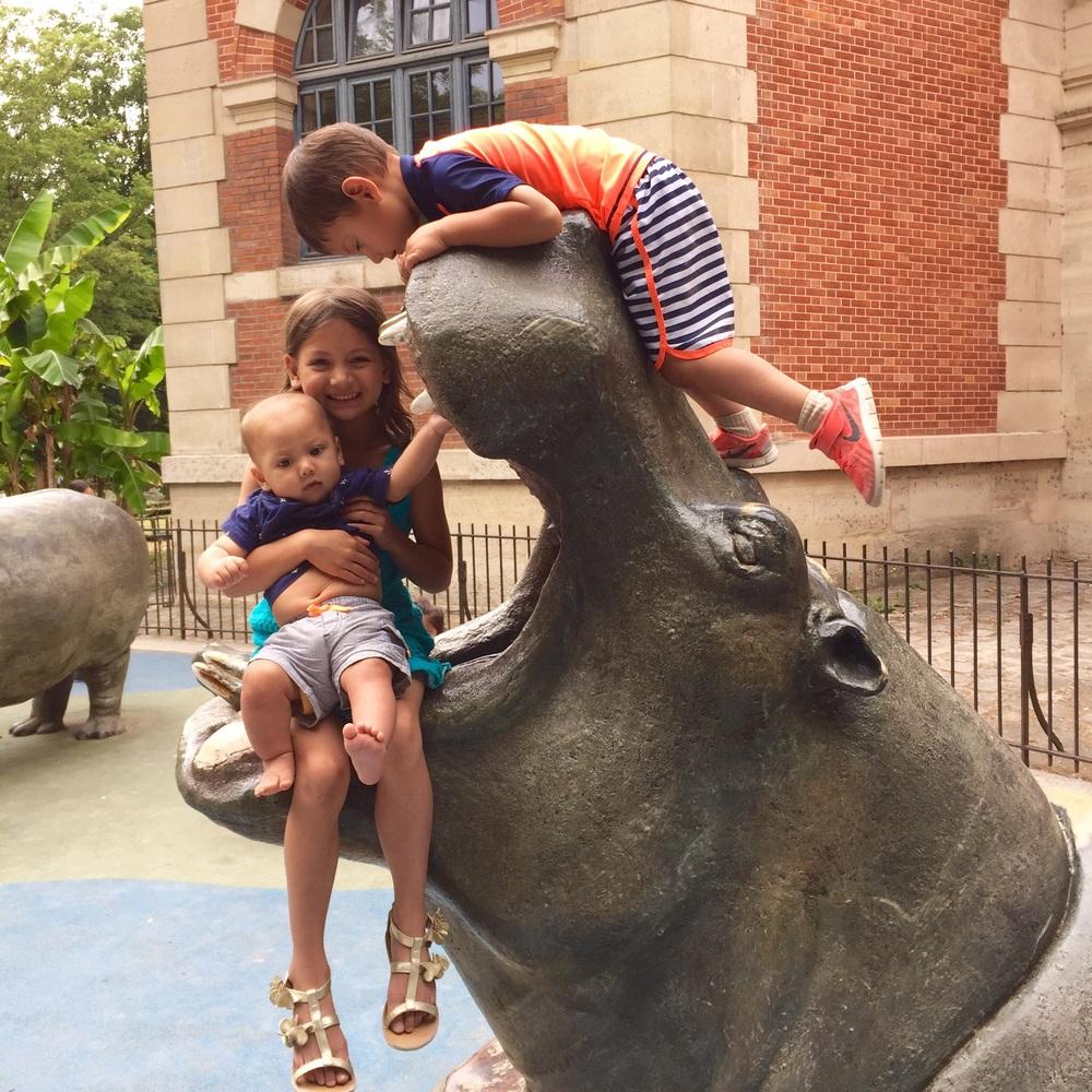 Hippos the children can climb at the Ménagerie, Paris