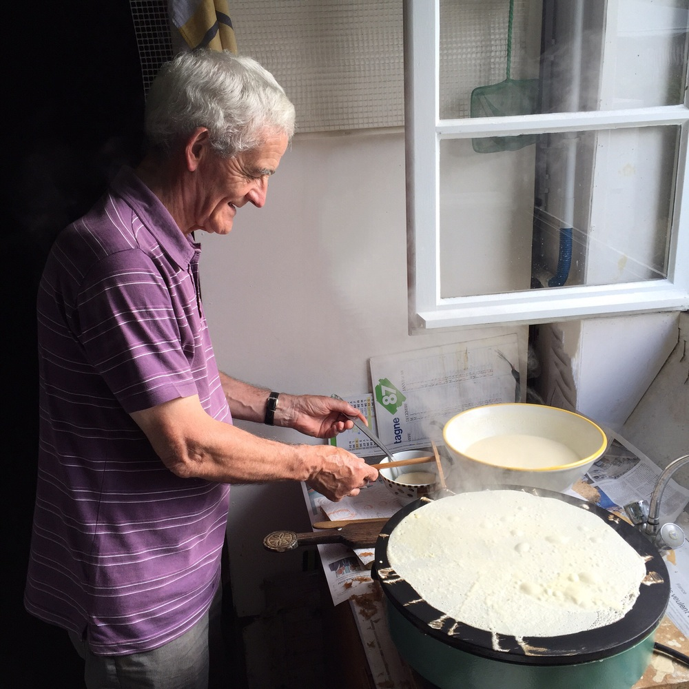 "My Breton ""papy"" making crêpes--it was such a delight to watch him!"