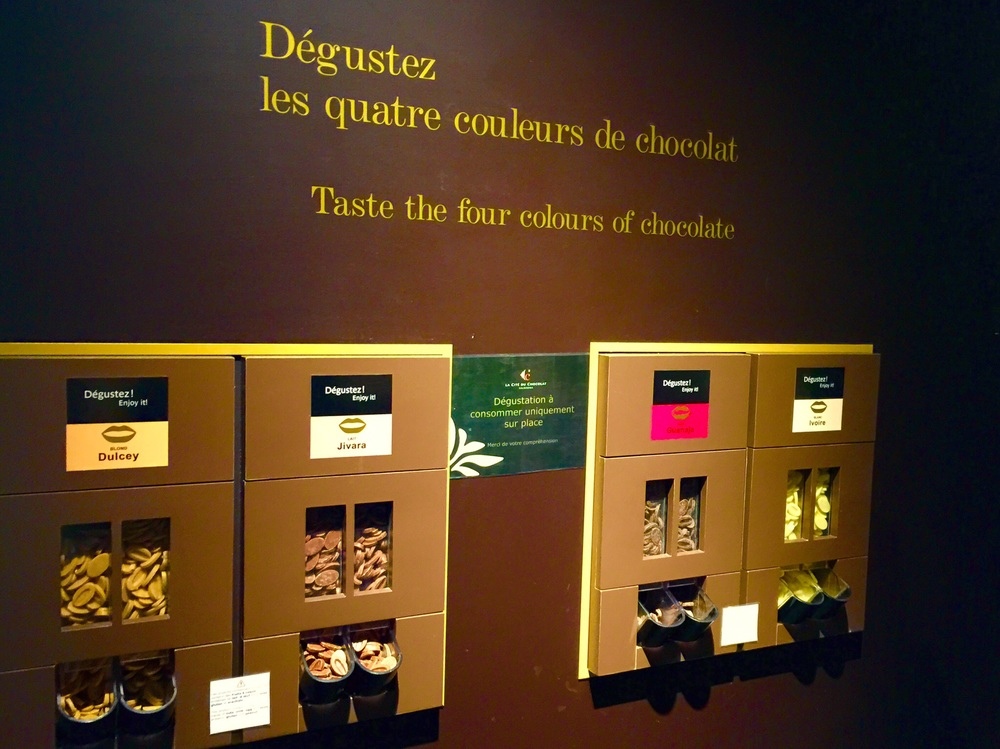 Tasting stations for the four types of chocolate--help yourself!
