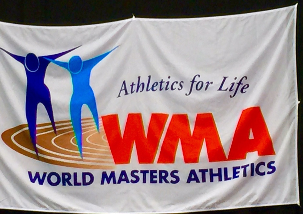 World Master Athletics flag at the awards arena