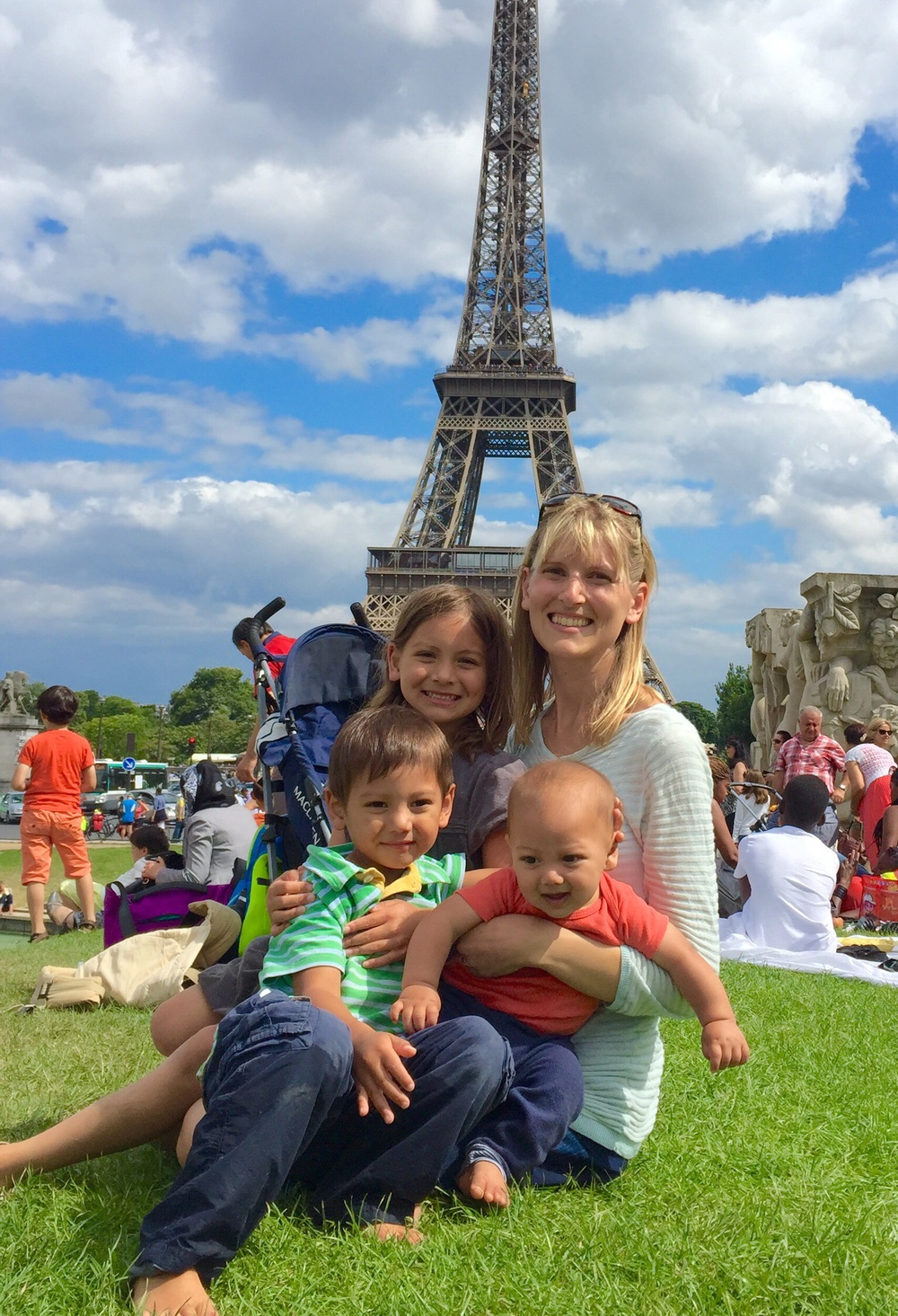 My children and I at Trocadero near the Eiffel Tower