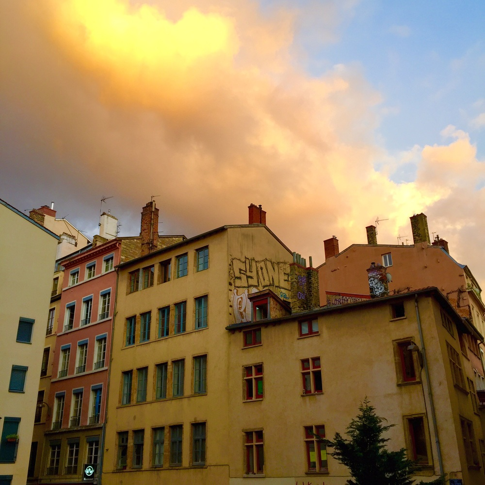 A stormy sunset two weeks ago over Montée de la Grand Côte, Lyon
