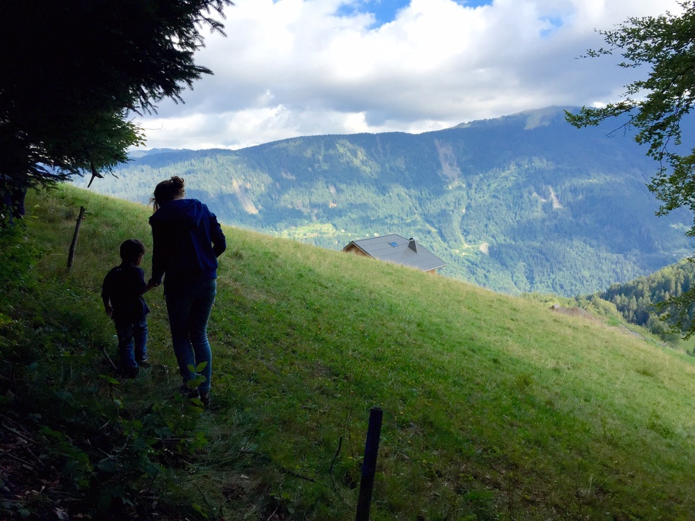 My son and my former host sister on a walk above the chalet