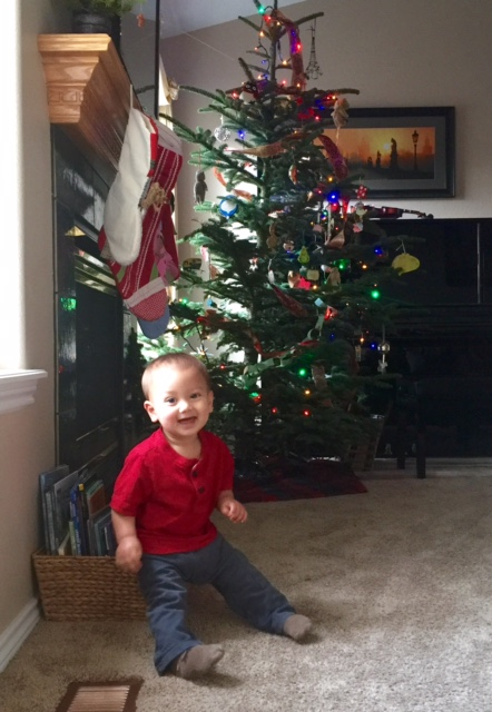 My youngest son, glad to celebrate his first Christmas