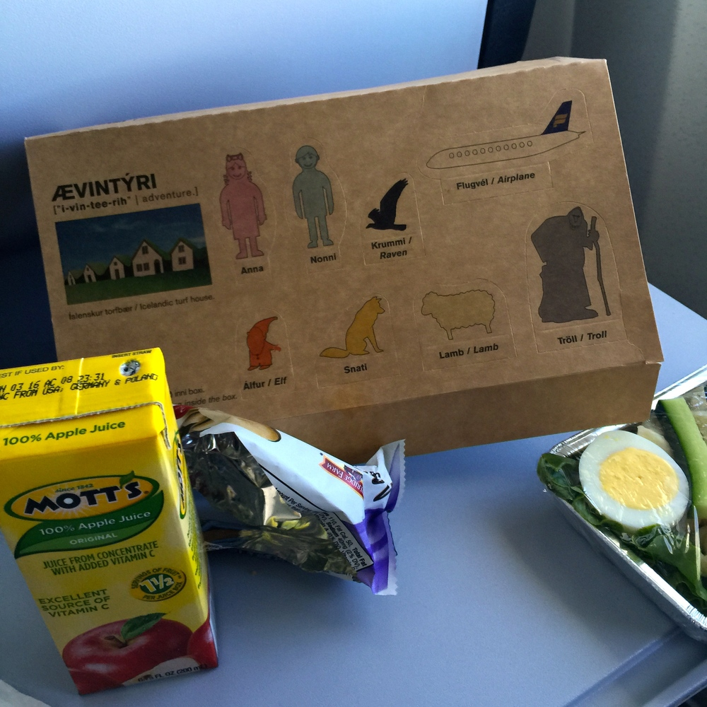 The meal box that Iceland Air delivered to our children (with detachable figurines)