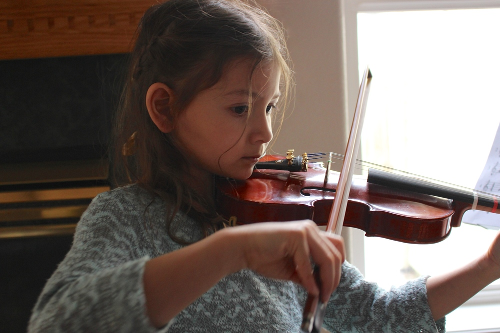 young violinist girl