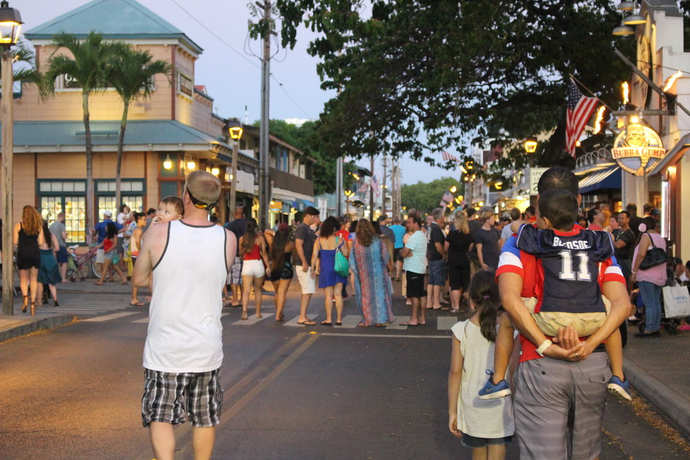 Enjoying the festive atmosphere on Lahaina's Front Street this past Fourth of July