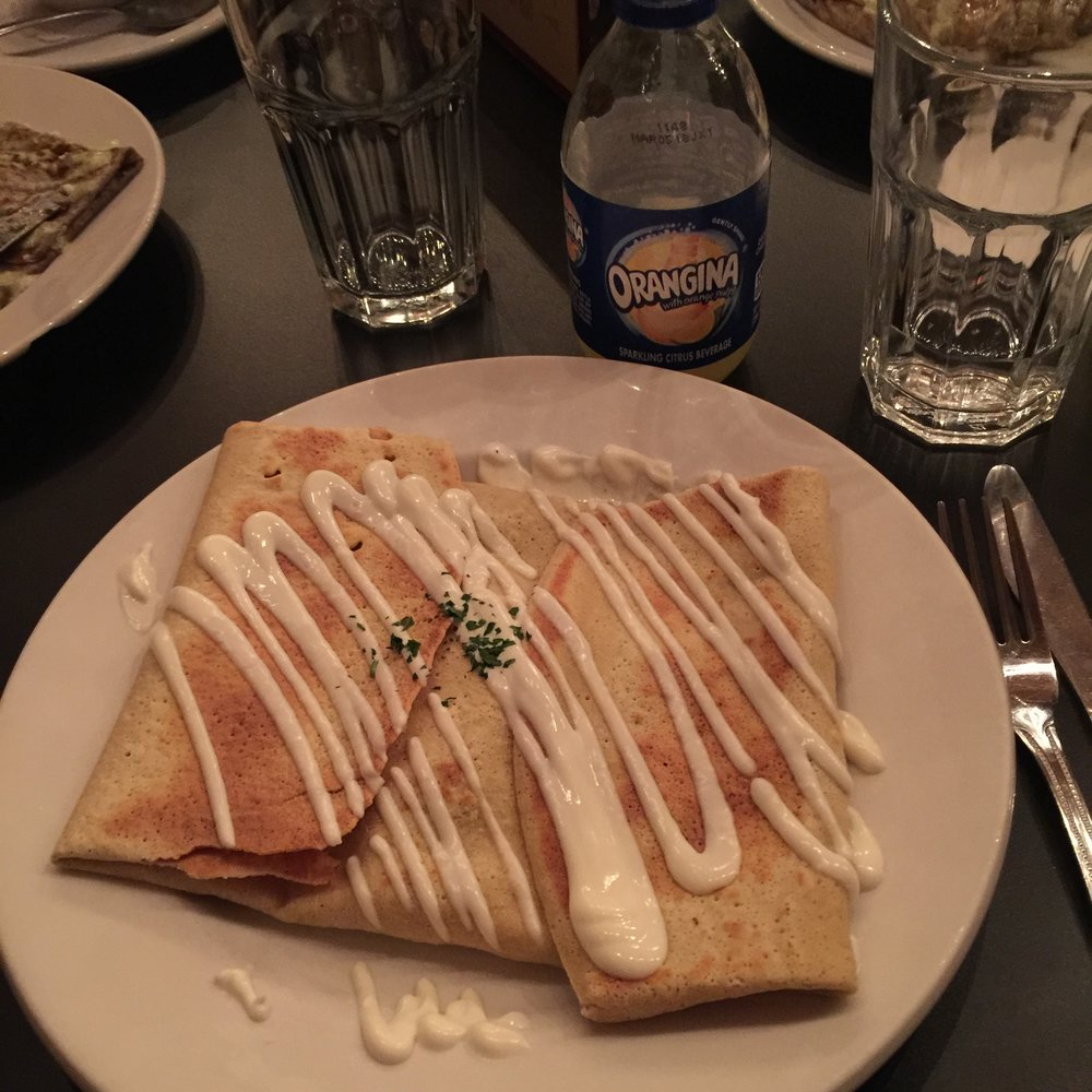 Une crêpe (sans gluten) & Orangina from  Chez Machin  in Portland with the French Club