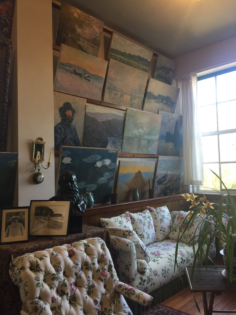 Monet's home studio with replica paintings