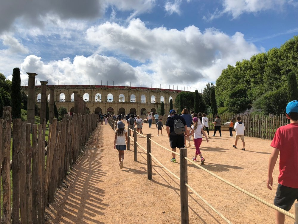 Our nine-year-old daughter headed to the Signe du Triomphe show at Puy du Fou