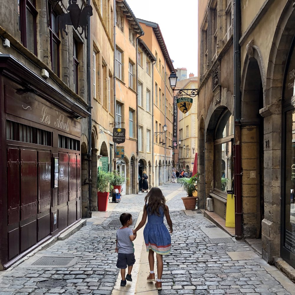 Two of our children exploring Vieux Lyon