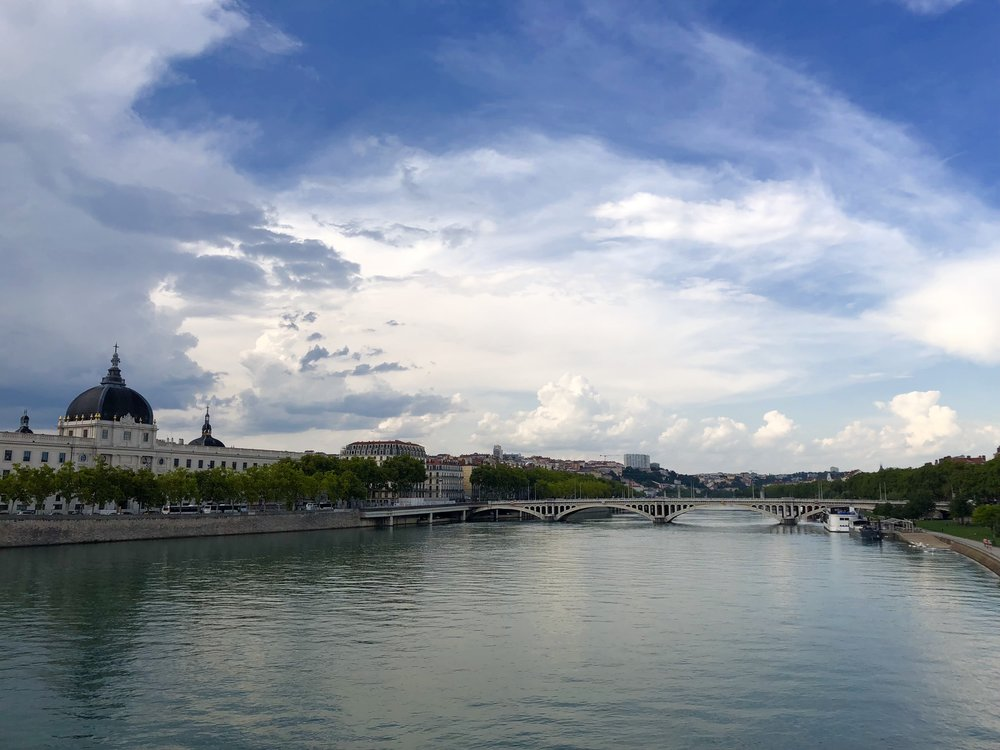 View of the Rhone River and the updated Hotel Dieu, Lyon