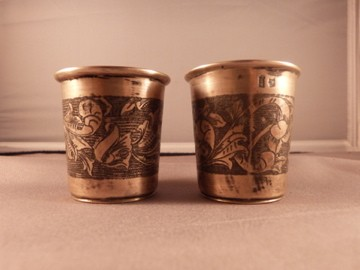 Russian Silver Niello Kiddush Cups