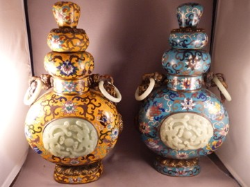 Pair of Cloisonne and Jade Moon Vases