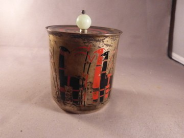Art Deco Silver Enameled Jar