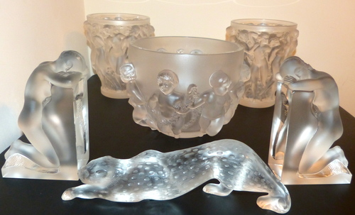 Lalique Vases, Book Ends and Panther