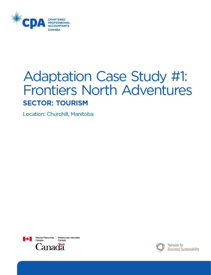 Title: Climate Change Adaptation: Frontiers North Adventures Author: Sakis Kotsantonis Date: June 2015