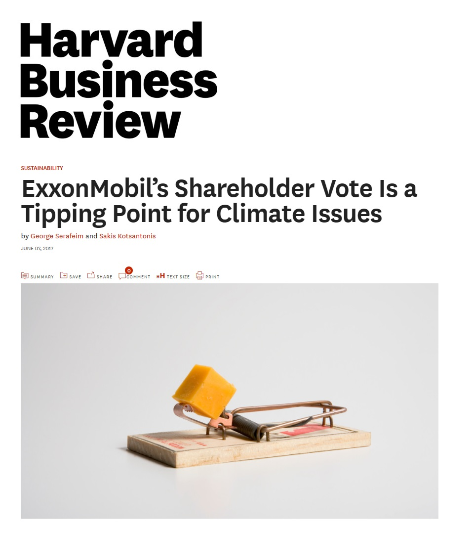 Title:  ExxonMobil's Shareholder Vote is a Tipping Point for Climate Issues  Authors:  Sakis Kotsantonis and George Serafeim  Date:  June 2017