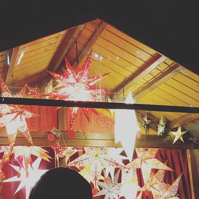 Feeling festive at the Christkindlmarket in #Chicago.  Warmed up with some hot #gluehwein . . #chicago #holidays #christmas #lanterns #germanmarket #chriskindlmarkt #festive #stars #IL #travel #holiday