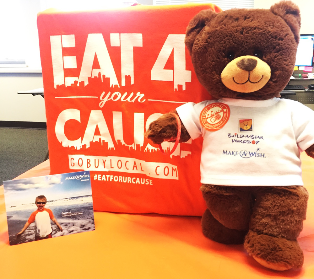 """Make-A-Wish """"Grant"""" The Wishing Bear makes a stop at Go Buy Local on his wish trip!"""