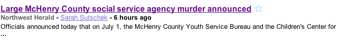 "This headline made no sense to me. That's because it's a terrible typo: the actual headline is, ""Large McHenry County social service agency merger announced."" Opps!"