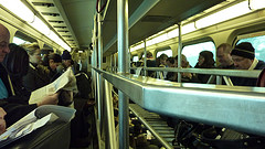 This Commute:     The train was chock full o'people this morning thanks to an extra stop. This was the only time I could remember there being *no* room, not even standing room, on a Metra.