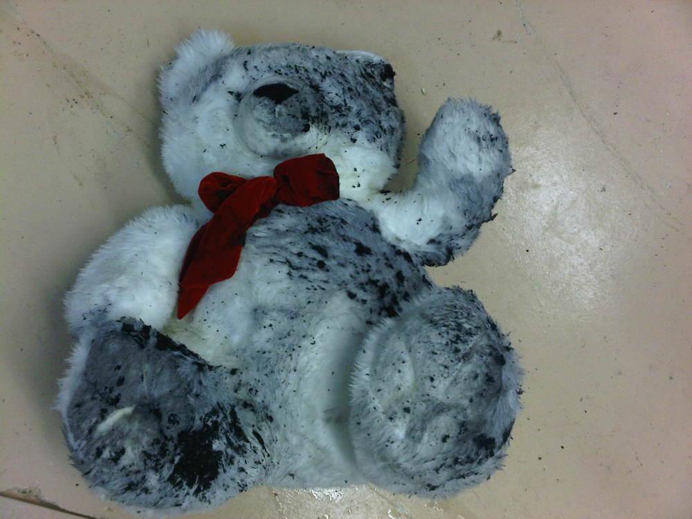 Soot Damaged Teddy Bear - Before