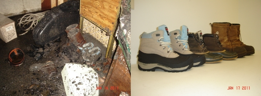 Flood Damaged Boots - Before and After